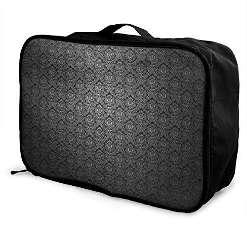 Qurbet Reisetaschen,Reisetasche, Travel Lightweight Waterproof Foldable Storage Carry Luggage Duffle Tote Bag - Black Elegant Ornaments Texture - Passport Travel Tote