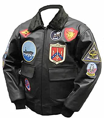top gun mavericks blouson d 39 aviateur en cuir de taureau m. Black Bedroom Furniture Sets. Home Design Ideas
