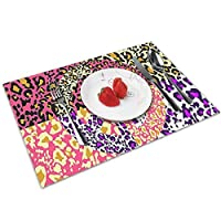 QCFW Placemats Place Mats Sets of 4 Table Mats PVC Washable Mat Heat Resistant Mat for Kitchen Garden BBQ Outdoor Leopard Print Colourful Peace Sign