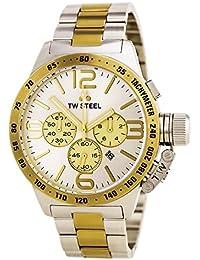 TW Steel CB34 de acero inoxidable de los hombres de acero inoxidable de dos tonos pulsera de plata de la marca del reloj