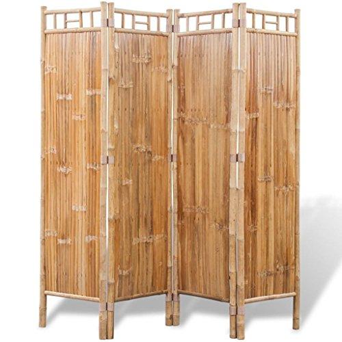 vidaXL Biombo de 4 Paneles de Bambú Marrón Separador Divisor de Espacios Hogar