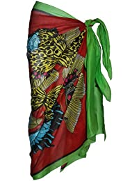 Multi Coloured Sarong with Butterfly Design(Green & Red)
