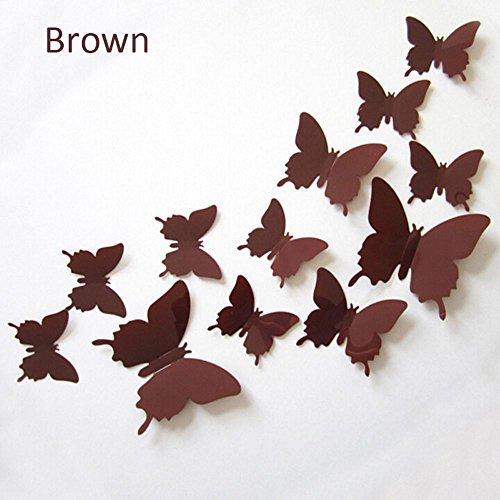Schmetterlinge 3D Wall Sticker Kunst DIY Home Dekorationen PVC abnehmbare Dekore Hochzeit Dekorationen an der Wand Aufkleber Aufkleber, Braun (Braun 3d Schmetterling Wand-dekor)