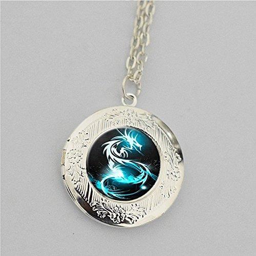revisa e64b0 61540 Colgante de medallón de dragón, dragón azul collar con camafeo, collar  camafeo, camafeo, colgante de dragón de fantasía hada jardín, regalos para  ...