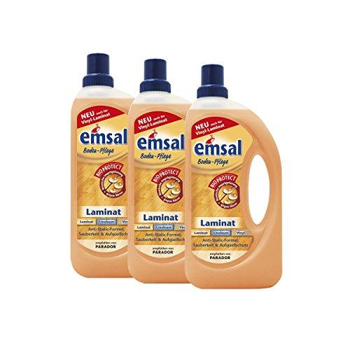 3x emsal Boden-Pflege Laminat 1 Liter mit Bioprotect - für Laminat, Linoleum & Vinyl