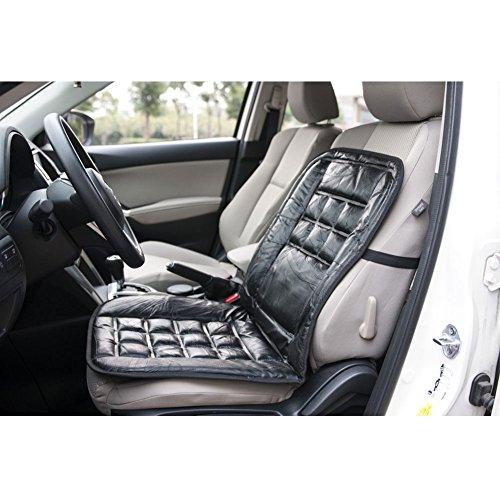 Sedeta® Tapis de sièges de tapis de voiture Sièges de véhicules Housse de protection en cuir véritable de luxe en cuir intérieur Accessoires intérieurs pour conducteur Noir Confortable Housse de siège