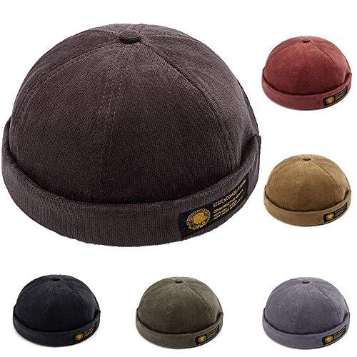 Retro Sailor Kostüm - YAMEE Docker-Cap Docker Mütze Seemannsmütze Hafenmütze Bikercap Basecap ganzjährig Tragbar Hat (Kaffee)