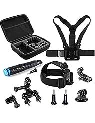 SHOOT Accessories pack 11 en 1 Kit d'accessoires Pour SJ4000 SJ5000 Xiaomi Xiaoyi Yi 2 4K/ YI 4K+ Pour GoPro Hero 5/4/3+/3/2 Taille M Taille Étui de transport avec Tête Poitrine Sangle et support vélo