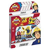 Totum Creative Kit Fireman Sam Stickerset Set of Stickers Approximately 50 Pieces and 1 Cardboard Scene, 340015, Multi-Coloured