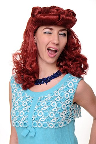 WIG ME UP ® - WIG018-P135 Perücke Faschingsperücke Karneval Damen Scarlett Rockabilly 50er rot Tolle (Rockabilly Perücken)