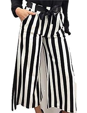 Pantaloni donna a righe bianco e nero eleganti con elastico in vita e cintura