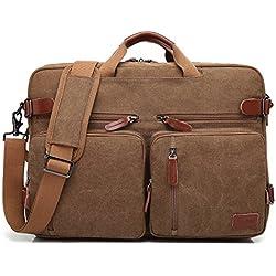CoolBELL umwandelbar Rucksack Messenger Bag Umhängetasche Laptop Tasche Handtasche Business Aktentasche Multifunktions Reise Rucksack Passend für 17,3 Zoll Laptop / Männer / Frauen(Canvas Coffee)