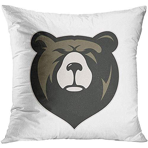 Grizzly Bären Maskottchen - EVEI cushion covers Dekokissenbezug Braun Gesicht