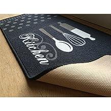 Tapis de cuisine gris motif Kitchen