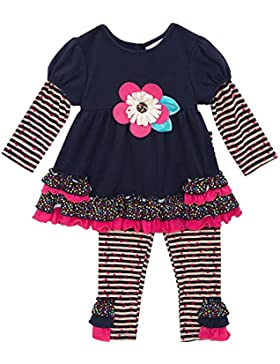Rare Editions bambina tunica vestito + Leggings pantaloni fiori Herzchen ruches strisce Design