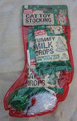 CAT CHRISTMAS STOCKING FILLED WITH TREATS AND TOYS