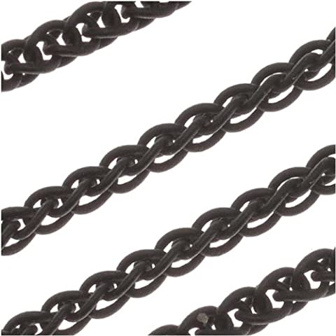 Matte Black Oxidized Plated Double Curb Rope Chain 3mm Bulk By The Foot