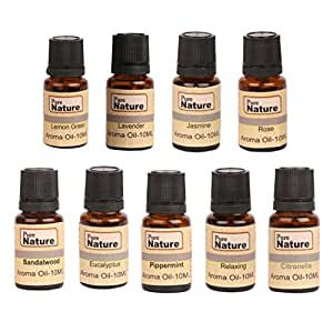 Pure Source India 9 In One Aroma Oil Pack (Lemon Grass, Lavender, Jasmine, Rose, Citronella, Eucalyptus, Peppermint, Sandal Wood, Relaxing 10 ml Each)