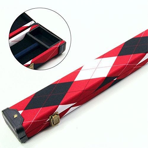 Rot Weiß & Schwarz Tartan 3/4Pool Snooker Queue Koffer–116cm max Länge