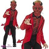 Smiffy's   - Kinder Jungen Deluxe Tag der Toten Teufel Kostüm, Maske, Jacke und Oberteil, rot