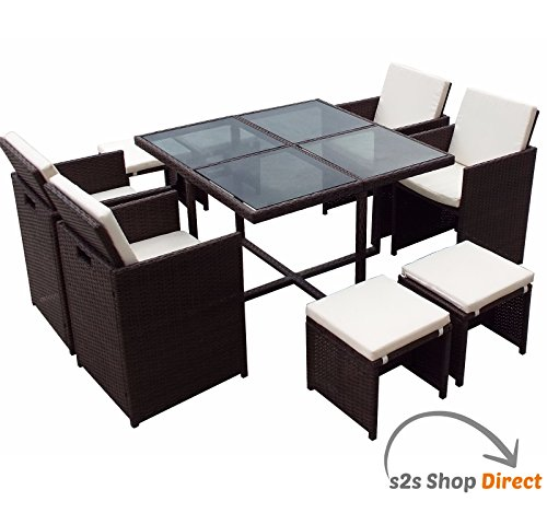9 Pc Rattan Cube Set Glass Top Garden Home Furniture Dining Table Chairs 8 Seater Uk