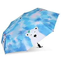 InnoWill Blue Cute Bear Windproof Compact Manual Folding Umbrella 8 Ribs