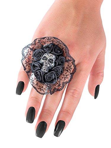 Generique - Schwarzer Ring mit Spitzenkragen und Totenkopf verziert Erwachsene