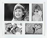 28 x 35 cm Mehrfach Bilderrahmen, Bildergalerie, Fotogalerie mit Passepartout und 4 Foto-Ausschnitten für 3 Fotos 10 x 15 cm und 1 Foto 14,8 x 21 cm (A5), Weiß