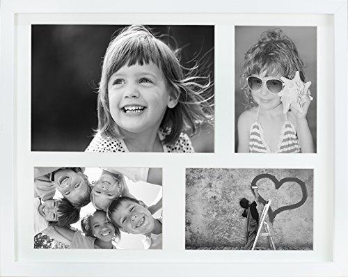 28 x 35 cm Mehrfach Bilderrahmen, Bildergalerie, Fotogalerie mit Passepartout und 4 Foto-Ausschnitten für 3 Fotos 10 x 15 cm und 1 Foto 14,8 x 21 cm (A5), Weiß (3x4 Bilderrahmen)