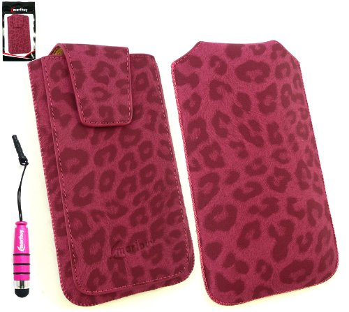 Emartbuy® Stylus Pack Für Sony Xperia E1 Dual-Classic Range Faux-Veloursleder-Leopard-Rosa Diashow In Pouch Case Tashe Hülle Sleeve Holder (Größe Xl) Mit Magnetische Klappe & Pull Tab Mechanism + Metallic Mini Rosa Stylus + Lcd Screen Protector Rosa Lcd Screen Protector