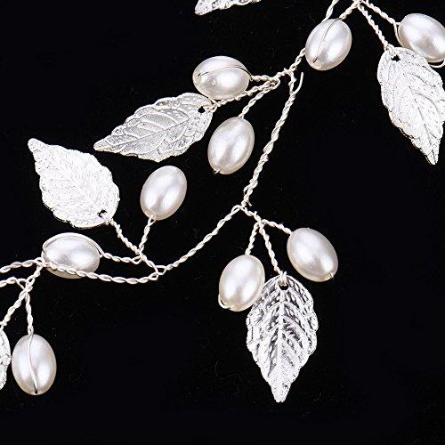 Oshide Weiß Perlengirlande Blatt Haar Accessoires, Braut Hochzeit Haarschmuck Brautschmuck(Silber) - 4