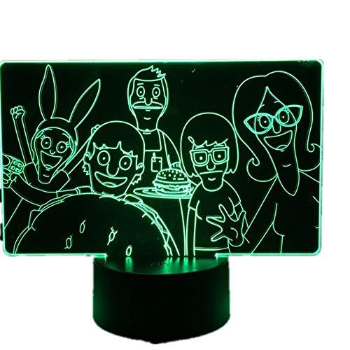 wangZJ 3d Illusion Lampe / 7 Farbwechsel Touch Nachtlicht/Baby Schlafzimmer Dekoration/Kinder Geschenk/Kinder/Bobs Burger (Geschenke Burgers Bobs)