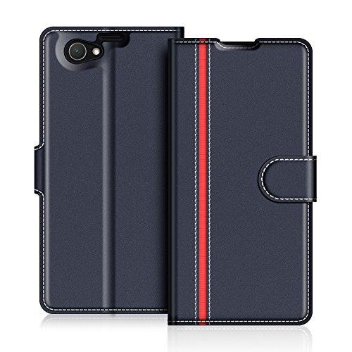 COODIO Sony Xperia Z1 Compact Hülle Leder Lederhülle Ledertasche Wallet Handyhülle Tasche Schutzhülle mit Magnetverschluss/Kartenfächer für Sony Xperia Z1 Compact, Dunkel Blau/Rot