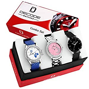 Decode Exclusive Women's Multi Colors Combo Of 3 Analogue Watch (Wx321)