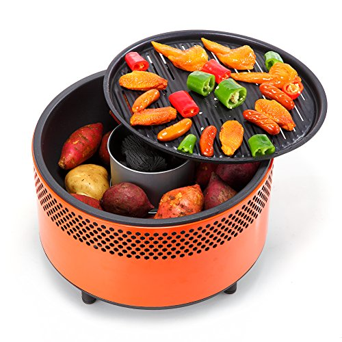Kbabe Portable BBQ with Fan for Fast Heat Outdoor Indoor Tabletop Small Charcoal Barbecue Non Stick Round BBQ Grill for Camping Picnics Party (Orange)