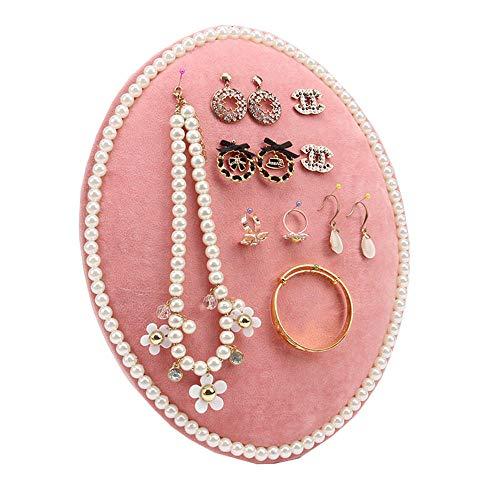 FIONAT Schmuckkästchen Rosa Wandbehang Schmuck Aufbewahrungsboard Ohrringe Halskette Ohrringe Display Stand Schmuck Rack Mit Hängenden Nadel