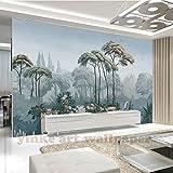 BZDHWWH Europa Handgemalte Garten 3D Tapeten Tropischen Dschungel 3D Wallpaper Wandbilder Für Tv Hintergrund Wohnzimmer Papel De Parede,240cm (H) x 360cm (W)