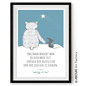 Bär und Maus brauchen Zeit ABOUKI Kunstdruck Poster Bild Geschenk-Idee für Frauen Männer Sie Ihn Freund Freundin Kind…
