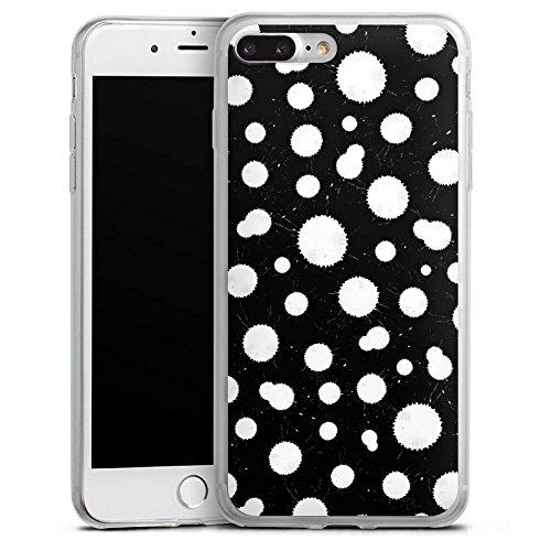 Apple iPhone 8 Slim Case Silikon Hülle Schutzhülle Schwarz Weiß Muster Punkte Silikon Slim Case transparent