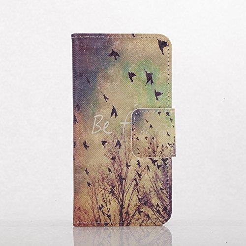 AllDo PU Leder Hülle für iPhone 7 PLUS Brieftasche Schutzhülle Mappen Kasten Klapp Hülle Flip Wallet Case Folio Cover Weiche Flexible Schale Schlanke Dünne Tasche Leichte Etui Anti-stoß Anti-Kratz Led Be Free