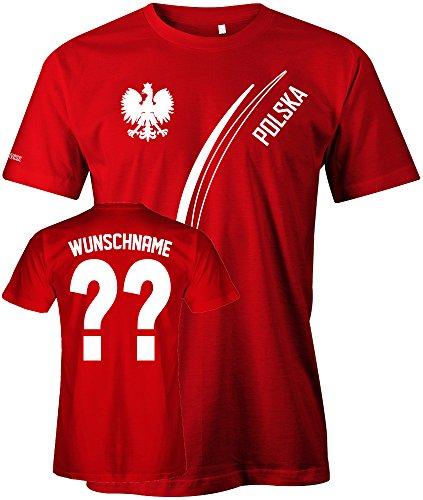 Polska Fan T-Shirt 103 - WUNSCH - Personalisierbar mit Wunschname und Wunschnummer - Herren Rot Gr. L