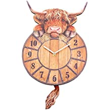 Highland Tickin 'vaca reloj de pared con péndulo cola