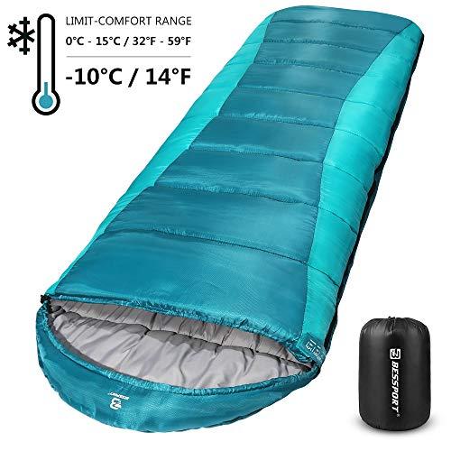 Bessport Saco de Dormir para Acampar, con Bolsa de Compresión, 3-4 Estaciones, Temperatura Extrema de -10ºC, para Viajes, Camping, Senderismo, 220x80cm-Blue&Green