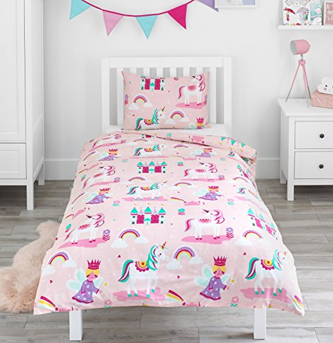 Bloomsbury Mill - Magic Unicorn, Fairy Princess & Enchanted Castle - Kids Bedding Set - Pink - Single Duvet Cover and Pillowcase