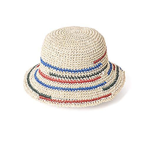 HAT YOU Damen Sommerhut/Hut/Sombrero mit bunten Streifen aus 100% Papier, Hut:Natur - Sombrero Panama