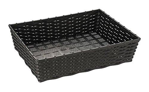 APS Korb -WICKER-LOOK-, Polypropylen, schwarz, 39,5 x 29,5 cm, H: 10 cm