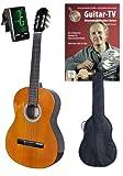 4/4 Konzert-Gitarre, Set mit DVD-Gitarrenschule GUITAR TV und Stimmgerät
