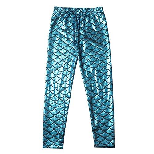 Juleya Kleinkind Baby Kinder Mädchen Fischschuppen Skinny Leggings Elastische Lange Hosen Hosen Hellblau S