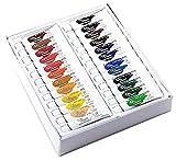 Ensemble de 24 tubes de peinture à l'huile de 12ml - Assortiment de couleurs vives populaires - Couvrance parfaite - Pigments durables et opacité dense - Garantie à vie