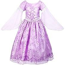 GenialES Disfraz de Vestido Princesa Púrpura Largo Lindo con Mangas Largas para Cumpleaños Fiesta Cosplay de Niñas 3-7 años
